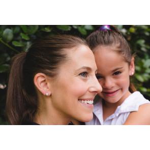 CC Sport Mother & Daughter Silver Tennis Ball Earrings Set