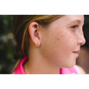 CC Sport Silver Tennis Earrings for Little Girls & Tweens
