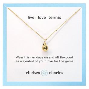 CC Sport Gold Tennis Charm Necklace
